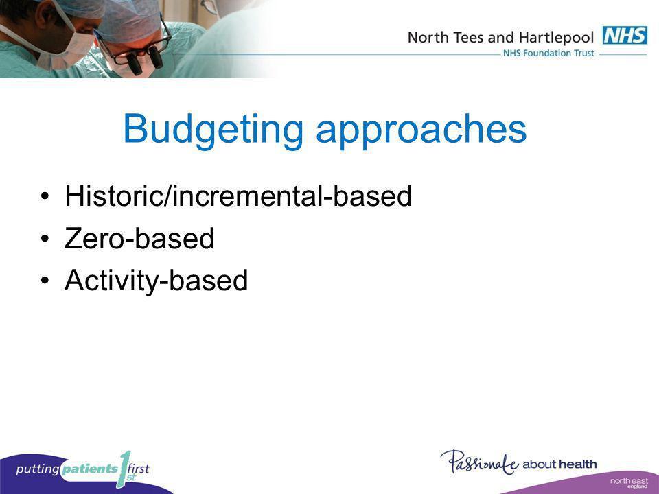 Budgeting approaches Historic/incremental-based Zero-based