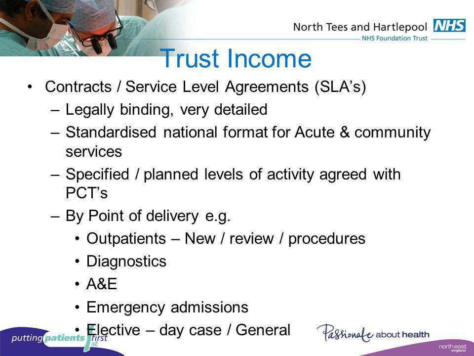 Trust Income Contracts / Service Level Agreements (SLA's)