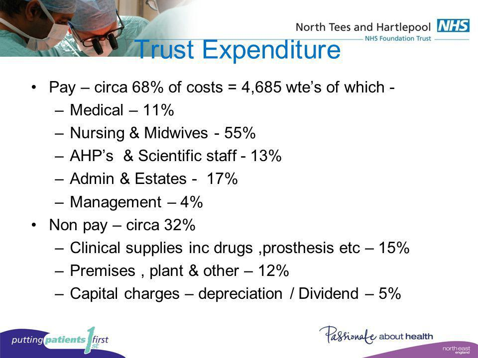 Trust Expenditure Pay – circa 68% of costs = 4,685 wte's of which -