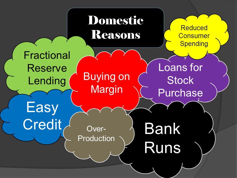 Bank Runs Easy Credit Domestic Reasons Fractional Reserve Lending