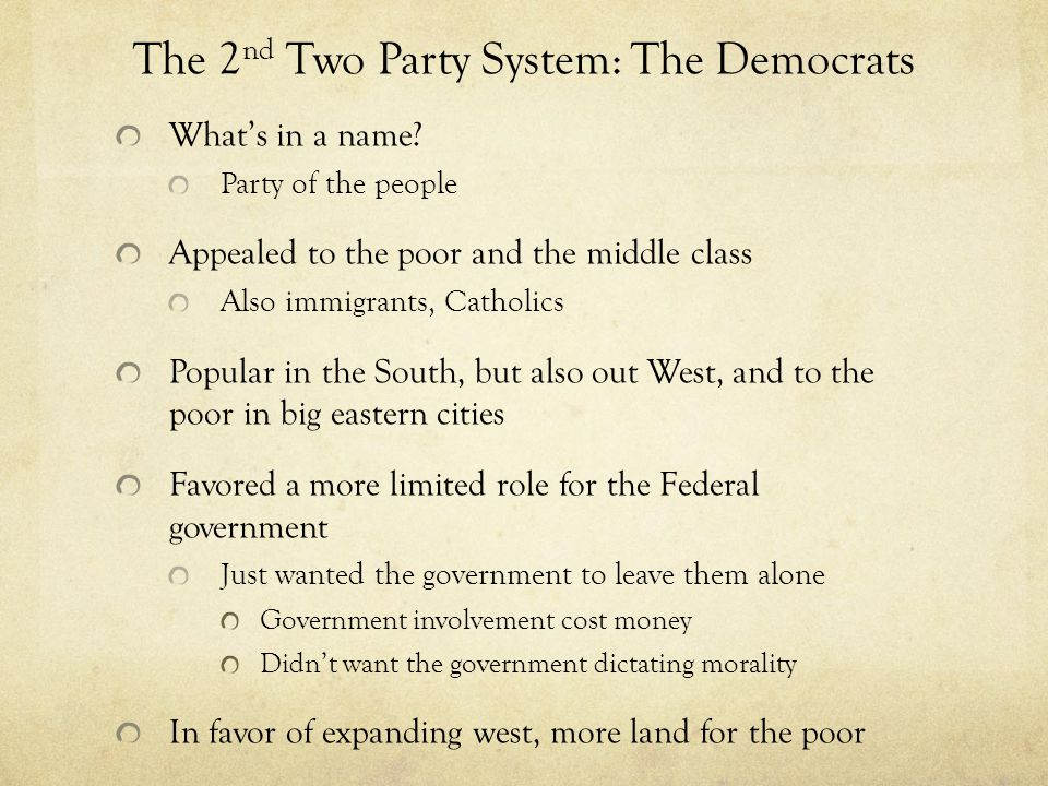 The 2nd Two Party System: The Democrats