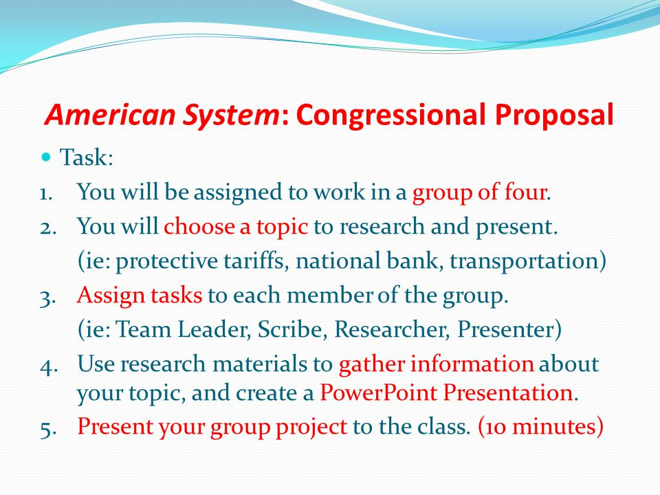 American System: Congressional Proposal