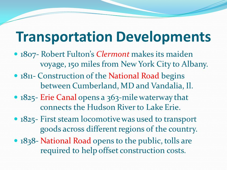 Transportation Developments