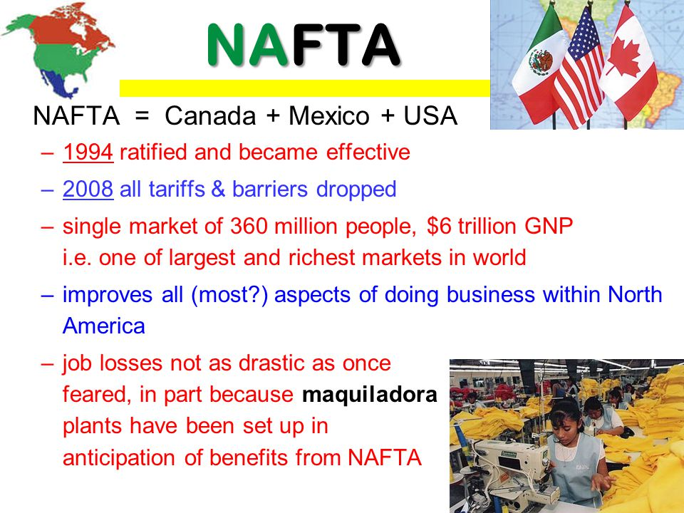 NAFTA NAFTA = Canada + Mexico + USA 1994 ratified and became effective