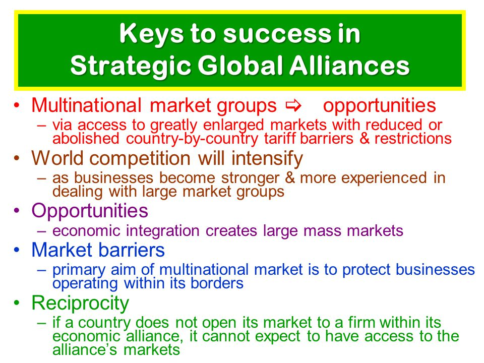 Keys to success in Strategic Global Alliances