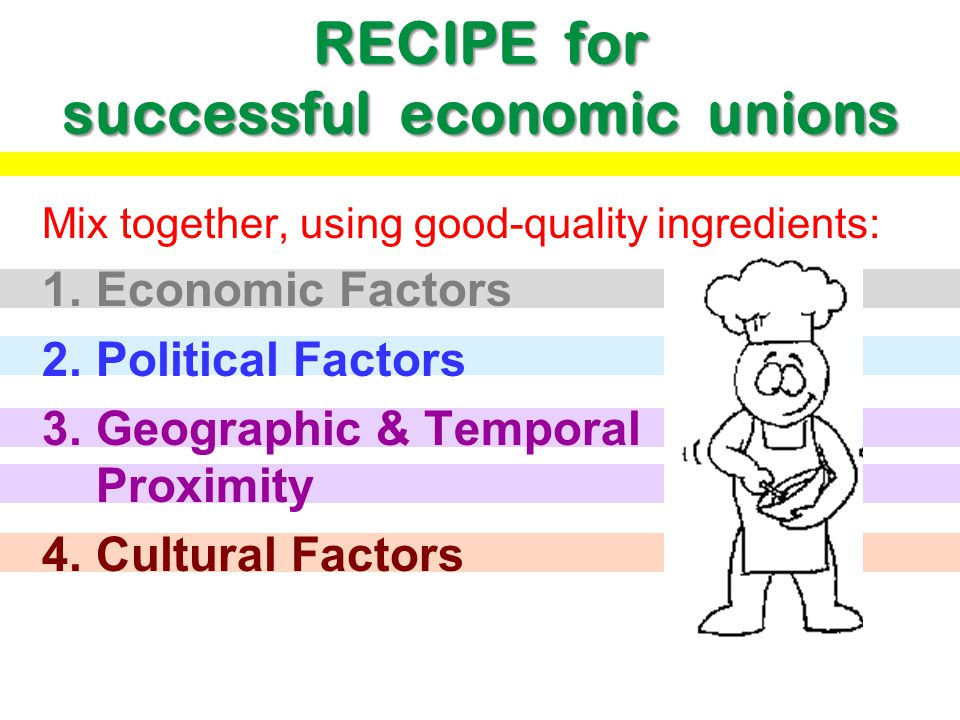 RECIPE for successful economic unions