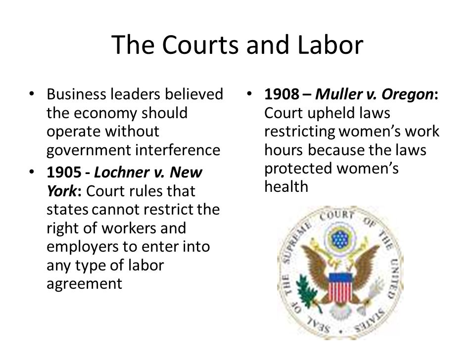 The Courts and Labor Business leaders believed the economy should operate without government interference.
