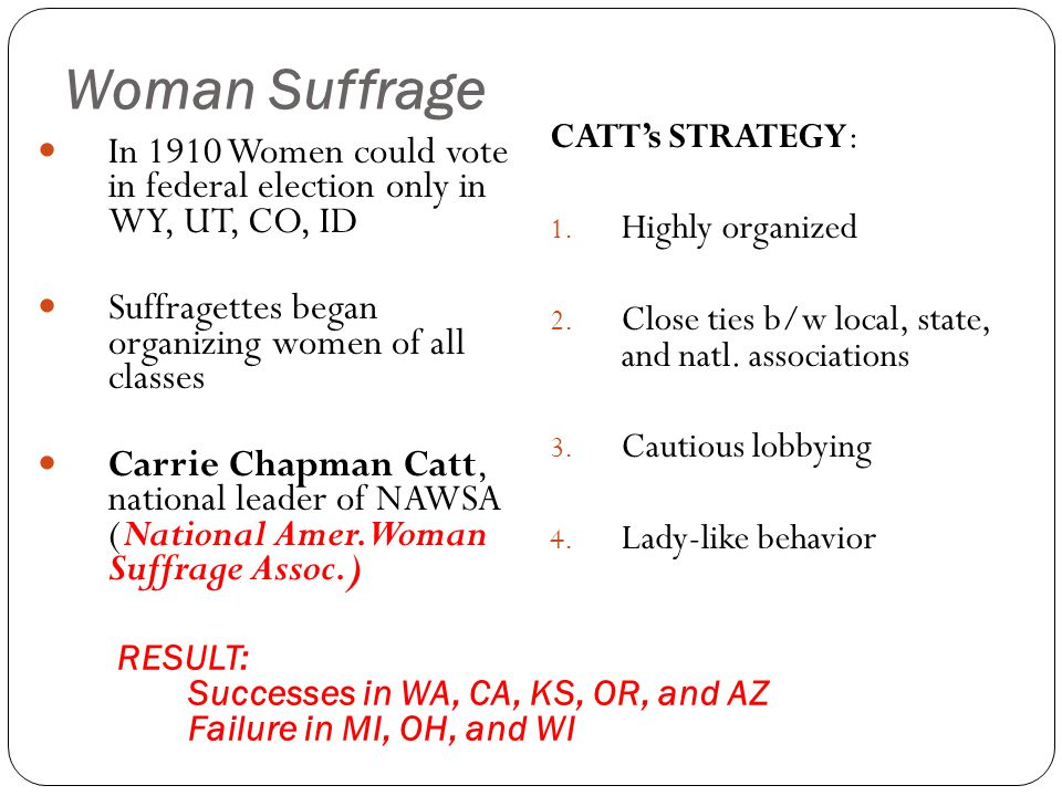 Woman Suffrage CATT's STRATEGY: Highly organized. Close ties b/w local, state, and natl. associations.
