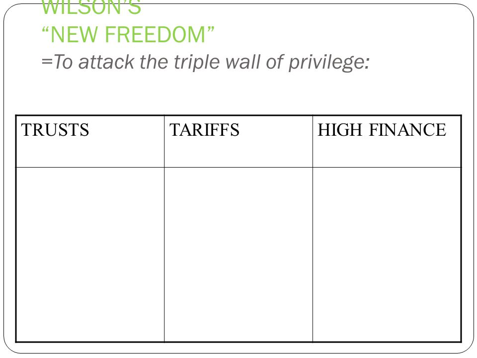 WILSON'S NEW FREEDOM =To attack the triple wall of privilege: