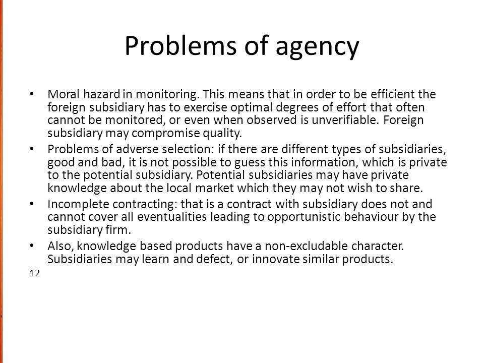 Problems of agency