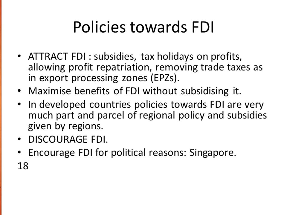 Policies towards FDI