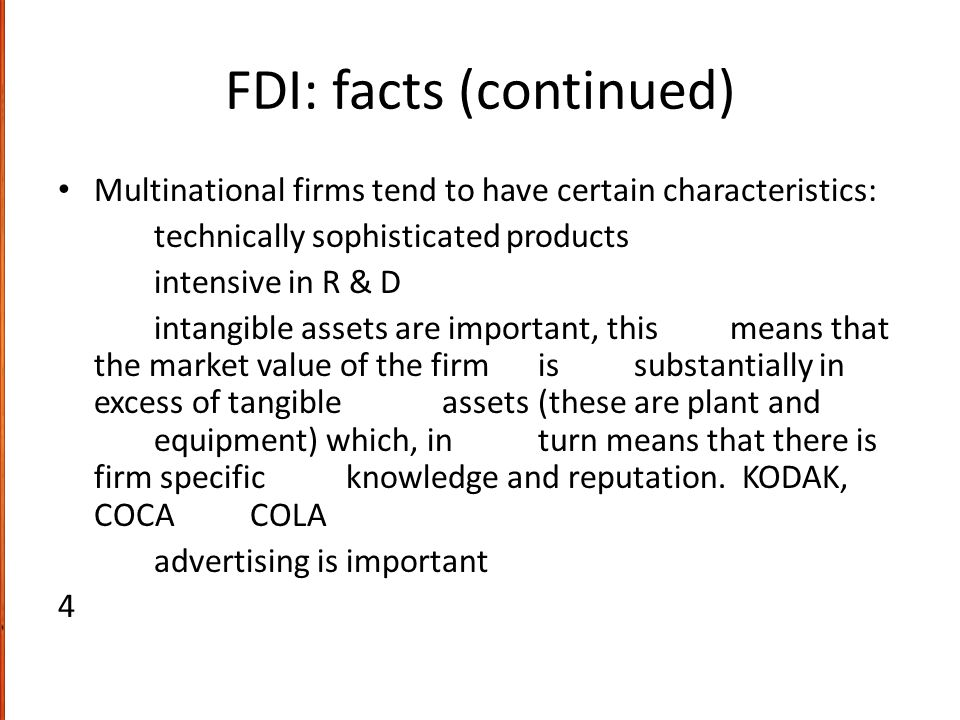 FDI: facts (continued)