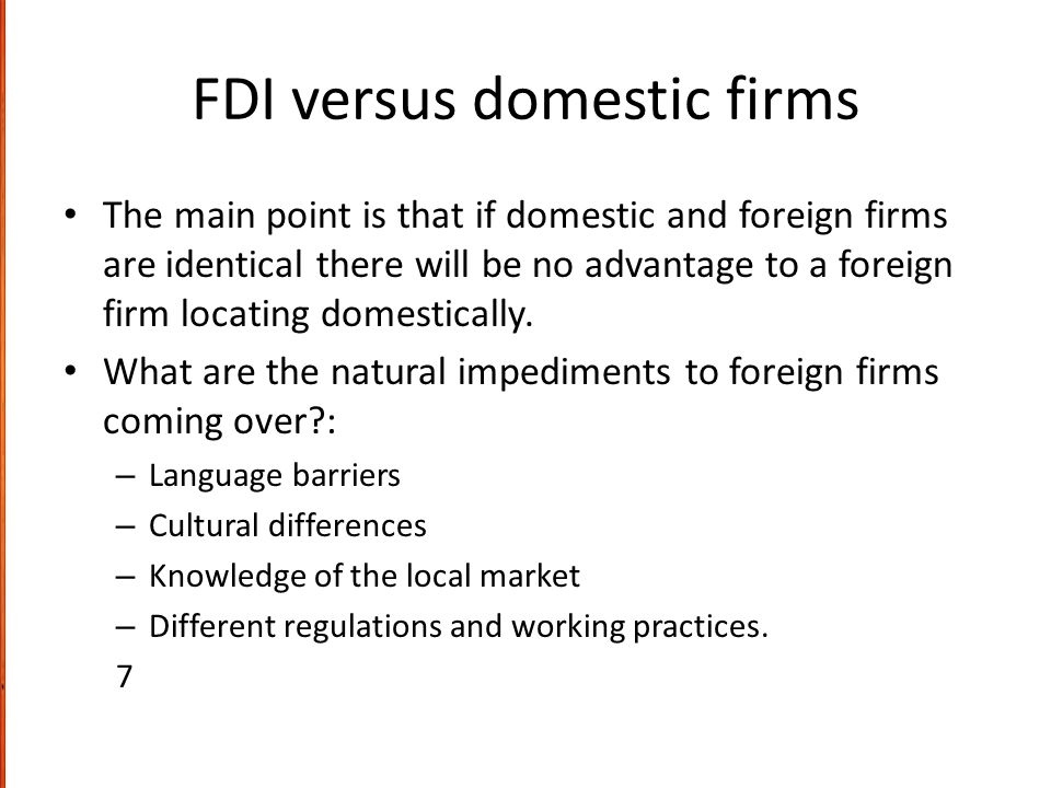 FDI versus domestic firms