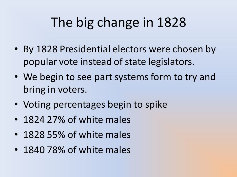 The big change in 1828 By 1828 Presidential electors were chosen by popular vote instead of state legislators.
