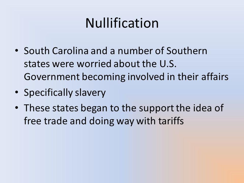 Nullification South Carolina and a number of Southern states were worried about the U.S. Government becoming involved in their affairs.