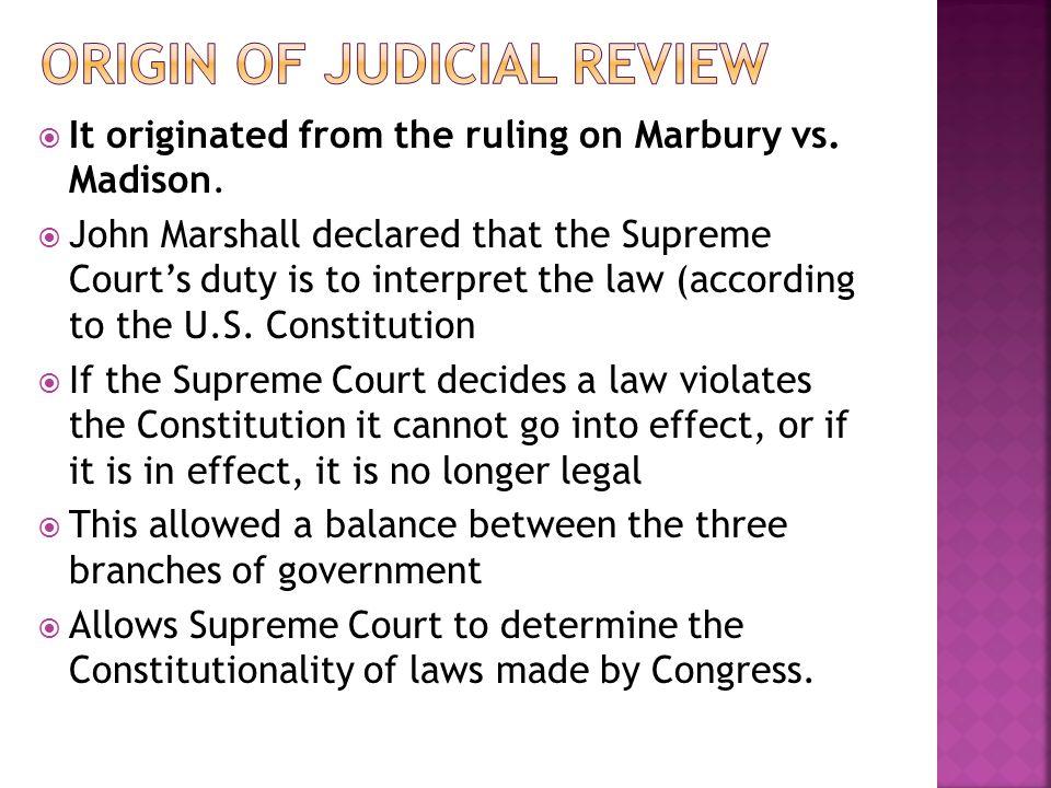 Origin of judicial review