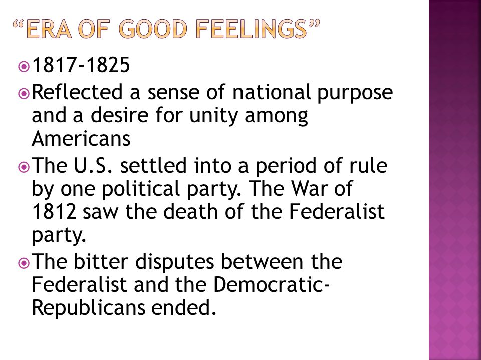 era of good feelings 1817-1825