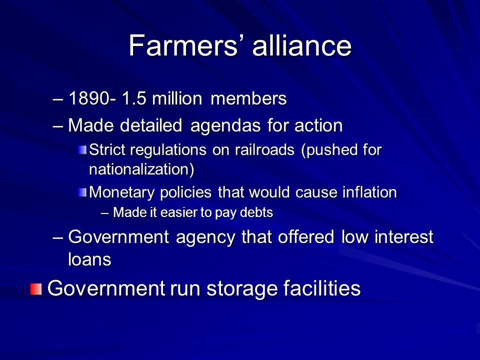 Farmers' alliance Government run storage facilities