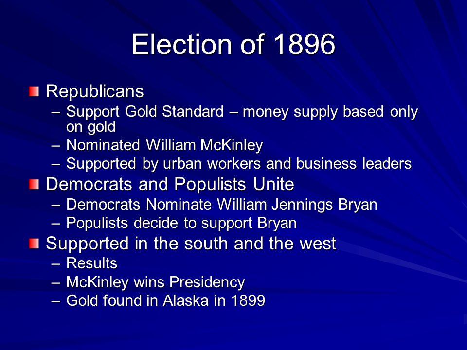 Election of 1896 Republicans Democrats and Populists Unite