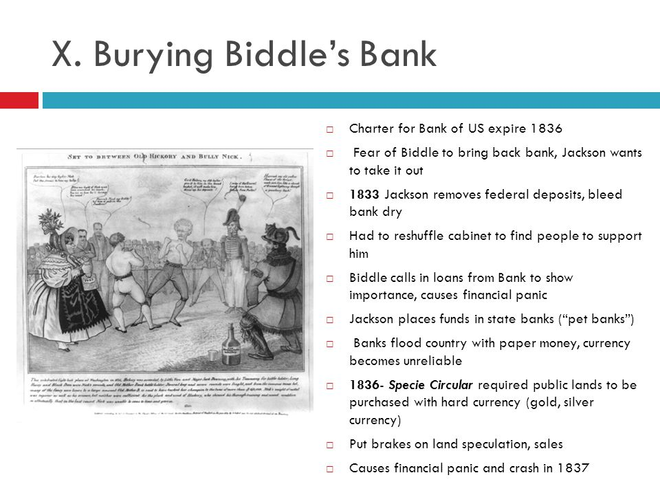 X. Burying Biddle's Bank
