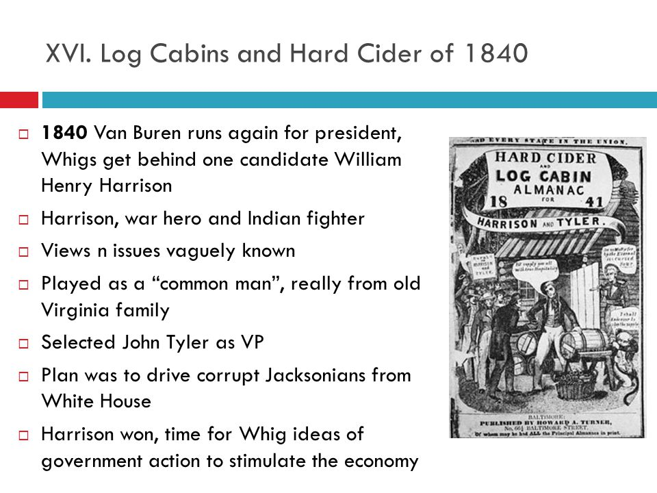 XVI. Log Cabins and Hard Cider of 1840
