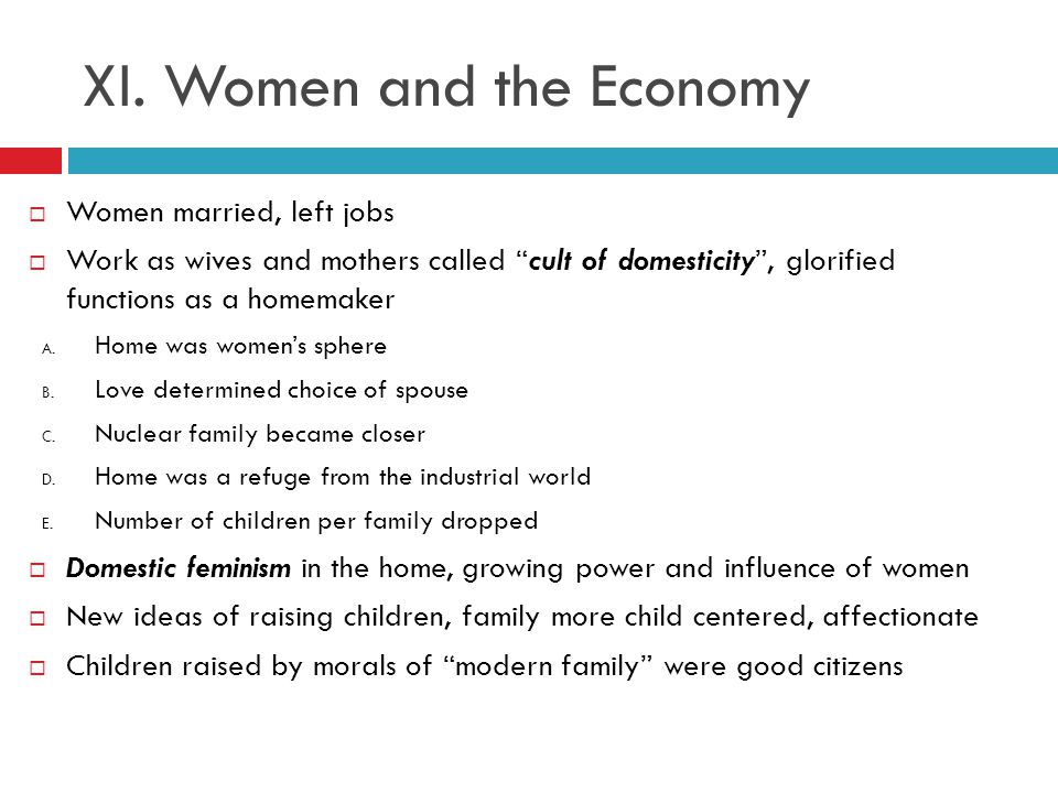 XI. Women and the Economy