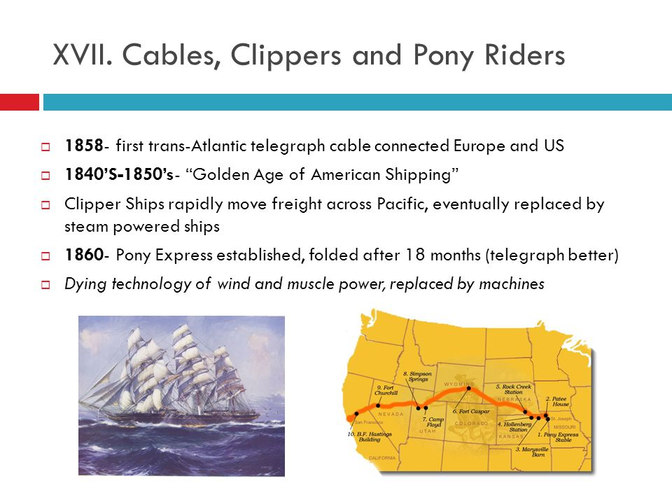 XVII. Cables, Clippers and Pony Riders
