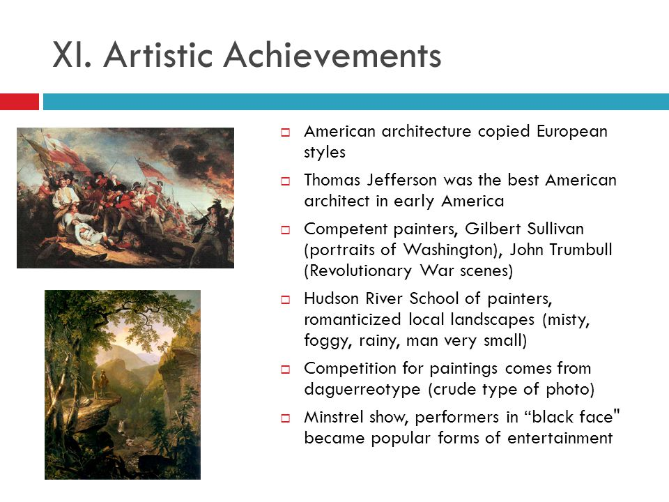 XI. Artistic Achievements