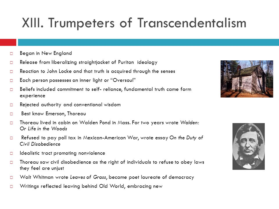 XIII. Trumpeters of Transcendentalism