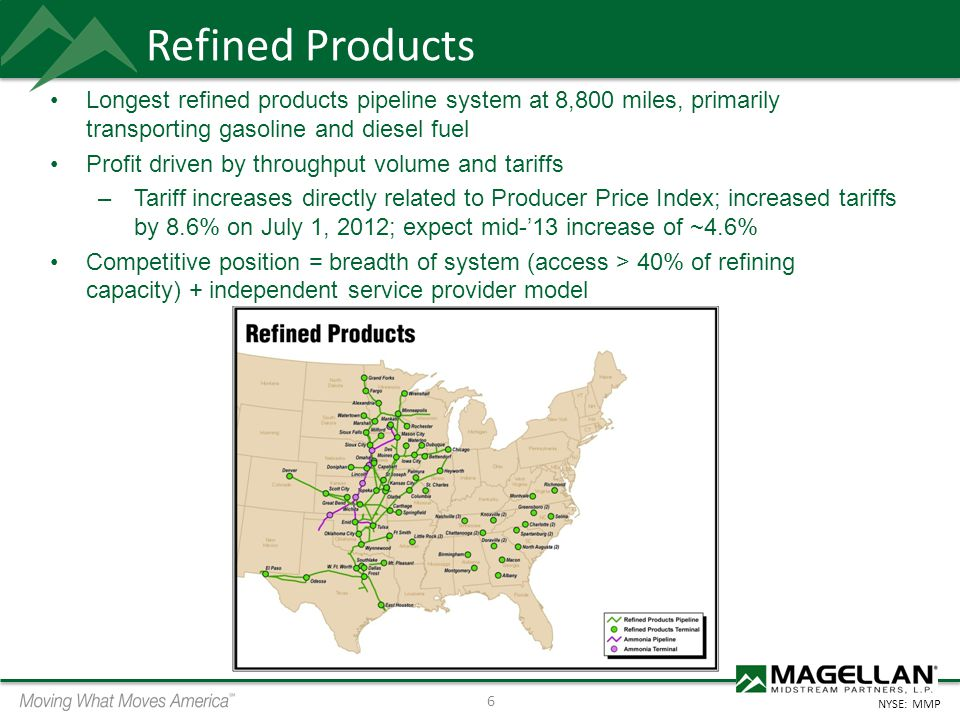 Refined Products Longest refined products pipeline system at 8,800 miles, primarily transporting gasoline and diesel fuel.