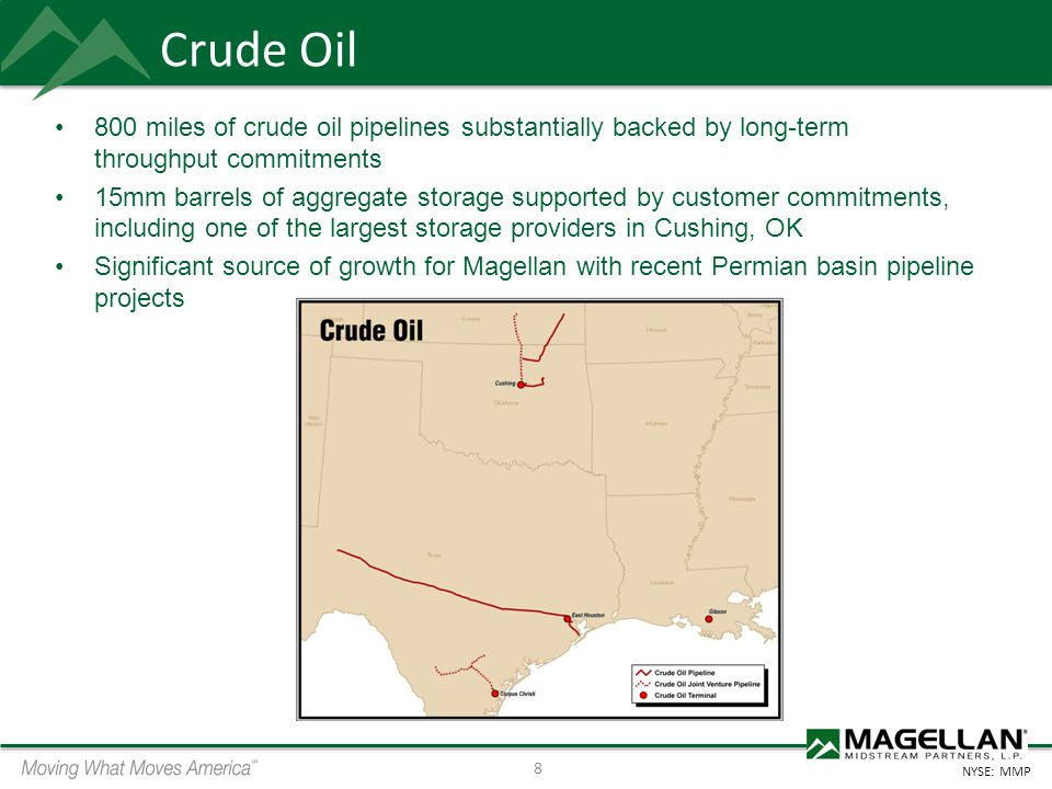 Crude Oil 800 miles of crude oil pipelines substantially backed by long-term throughput commitments.