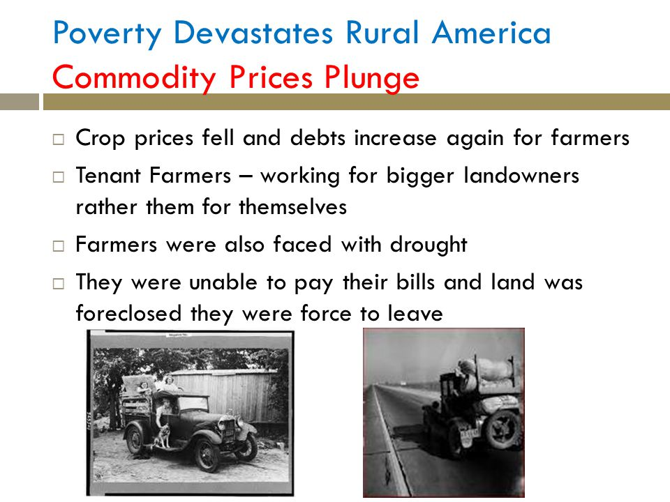 Poverty Devastates Rural America Commodity Prices Plunge