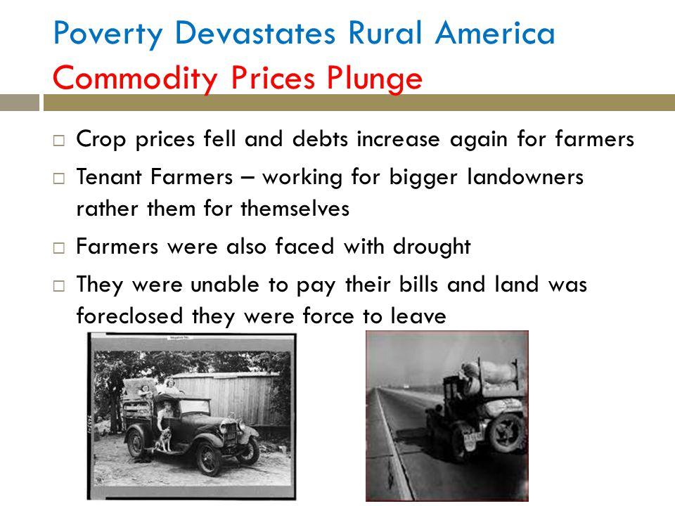 Poverty Devastates Rural America Commodity Prices Plunge