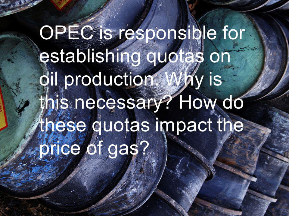 OPEC is responsible for establishing quotas on oil production