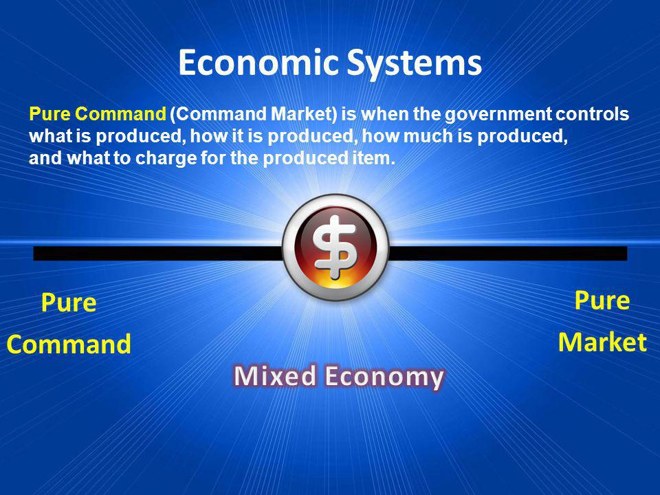 Economic Systems Pure Market Pure Command Mixed Economy