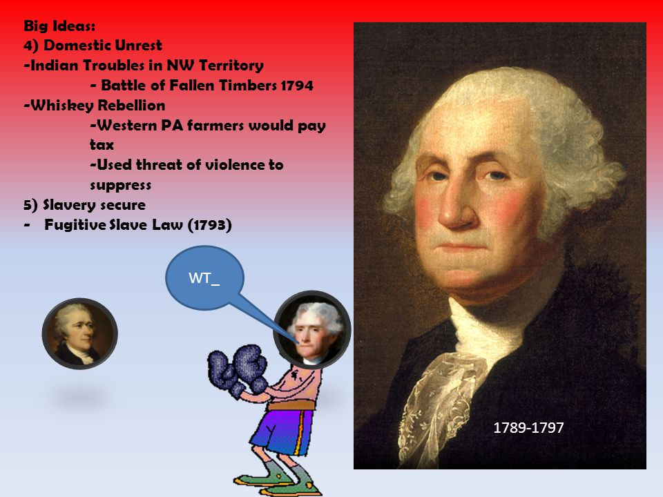 Big Ideas: 4) Domestic Unrest. -Indian Troubles in NW Territory. - Battle of Fallen Timbers 1794.