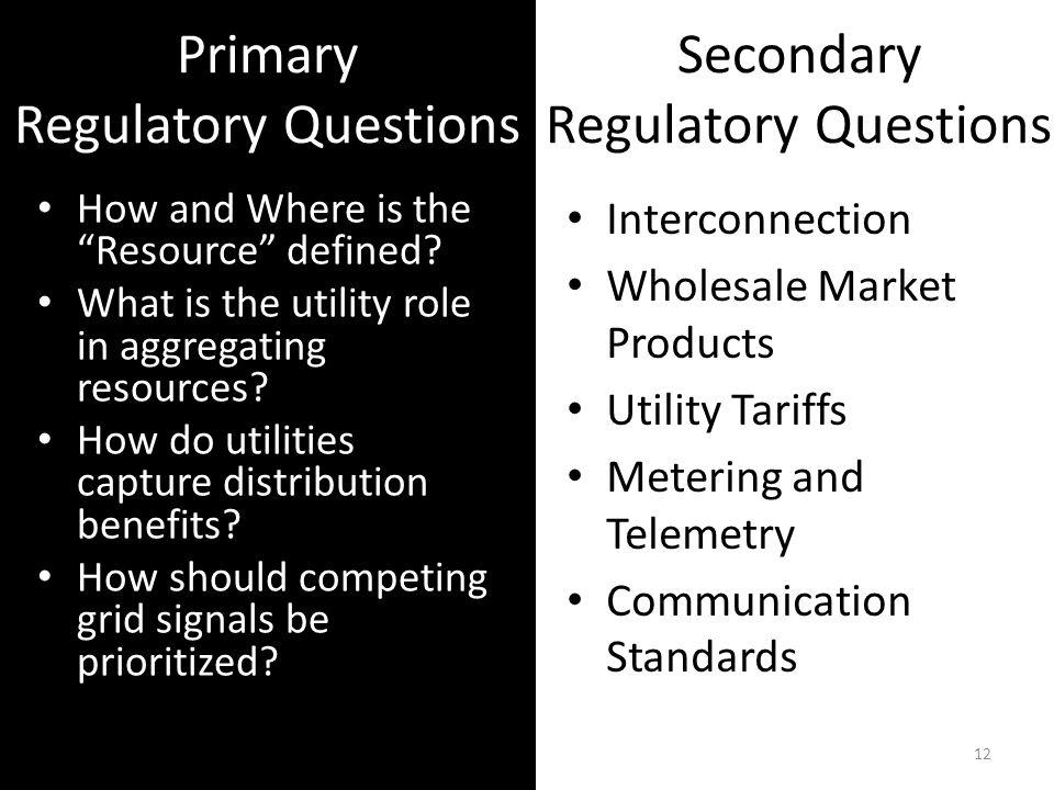 Primary Regulatory Questions