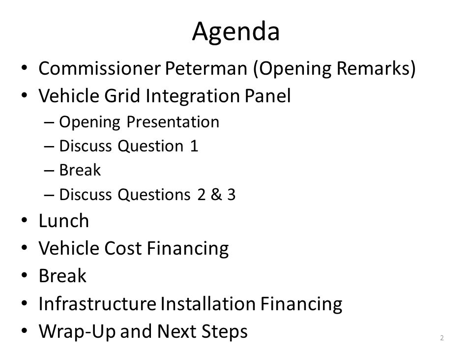 Agenda Commissioner Peterman (Opening Remarks)