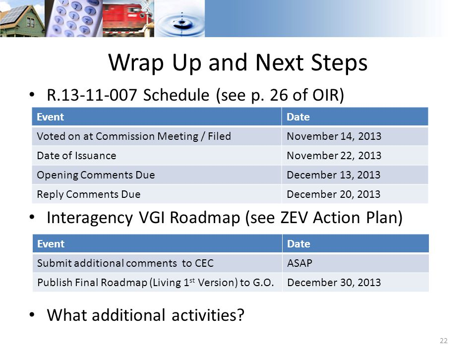 Wrap Up and Next Steps R.13-11-007 Schedule (see p. 26 of OIR)