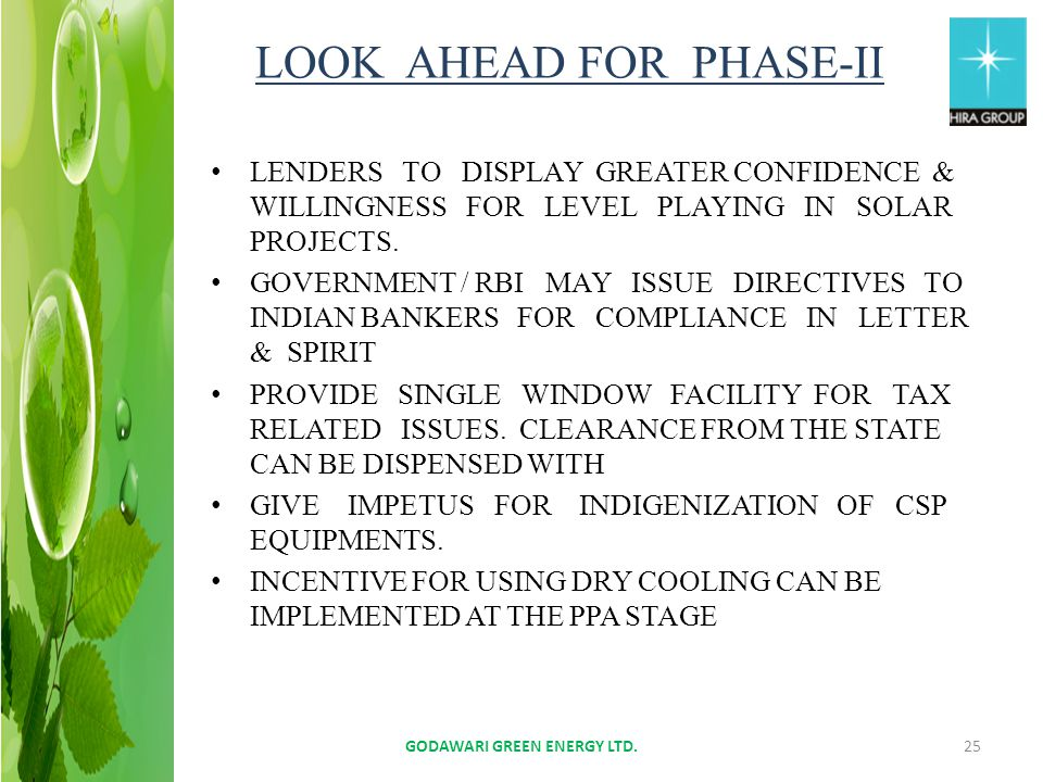 LOOK AHEAD FOR PHASE-II