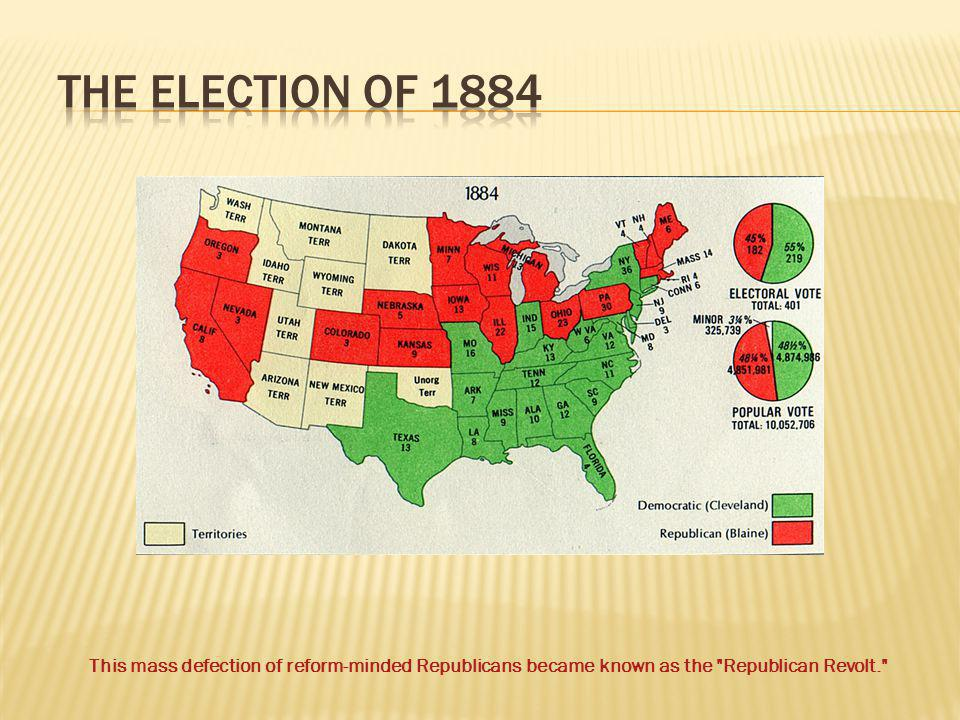 The Election of 1884 This mass defection of reform-minded Republicans became known as the Republican Revolt.