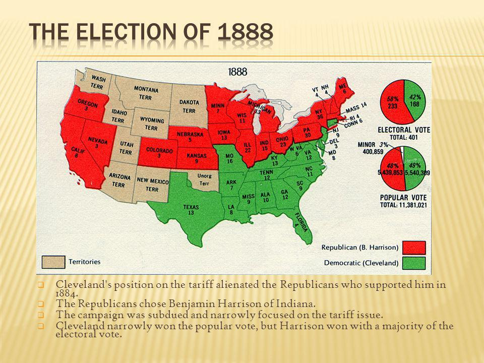 The Election of 1888 Cleveland s position on the tariff alienated the Republicans who supported him in 1884.