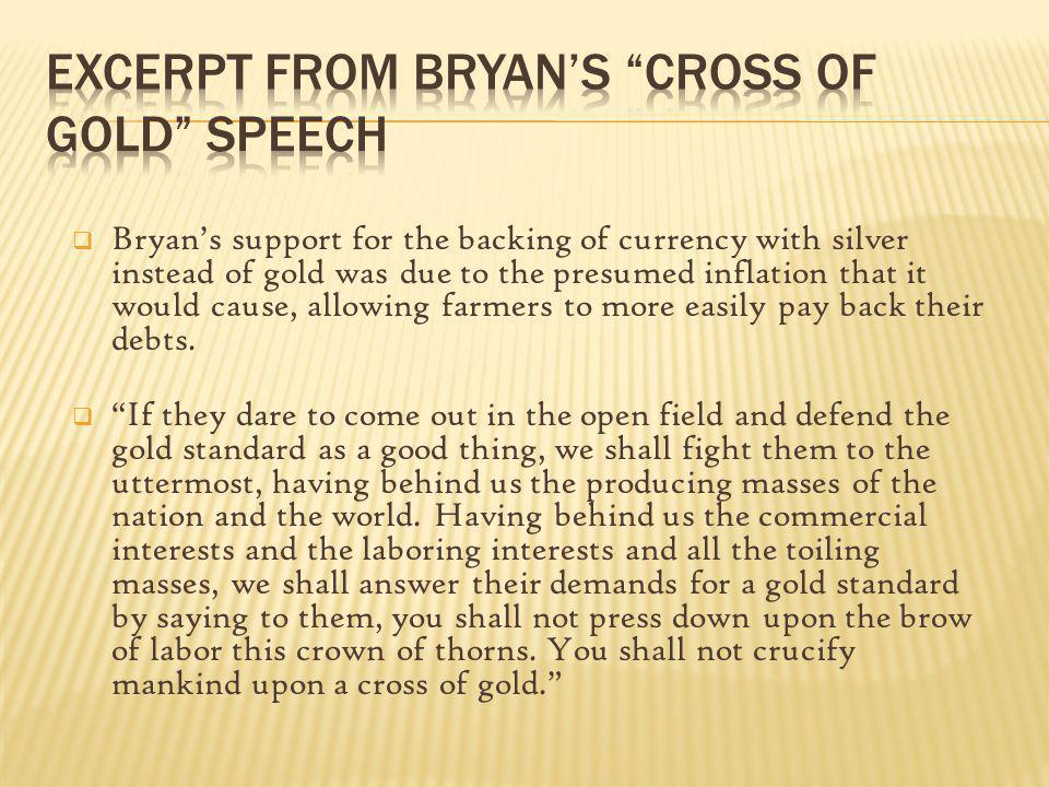 Excerpt from Bryan's Cross of Gold Speech