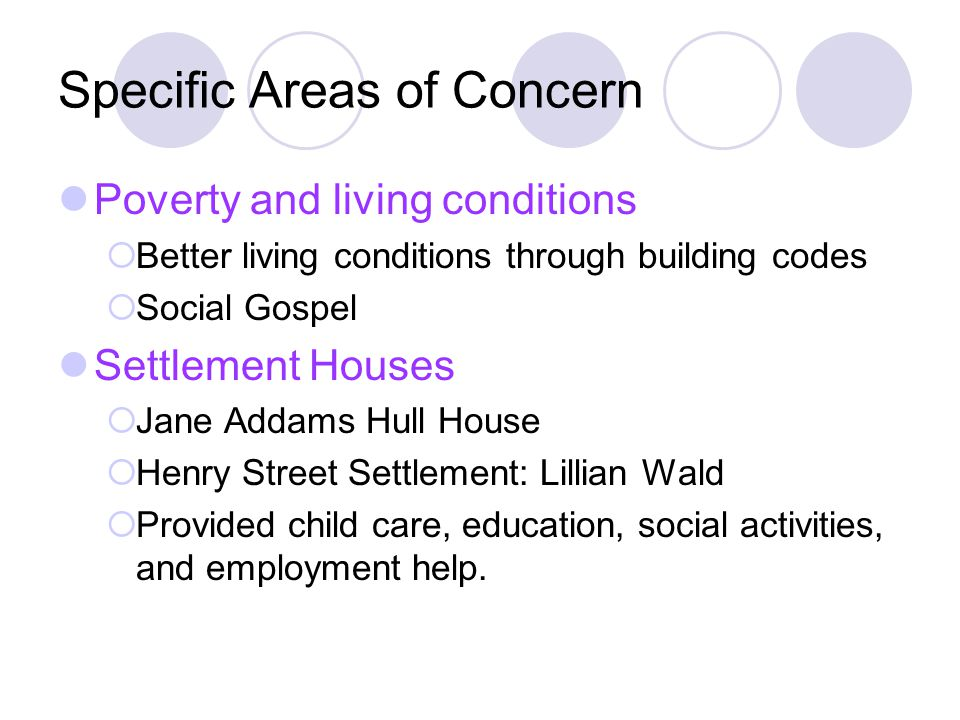 Specific Areas of Concern