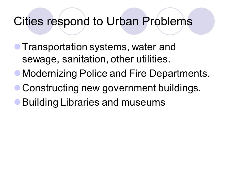 Cities respond to Urban Problems