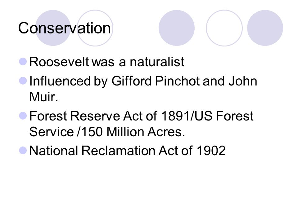 Conservation Roosevelt was a naturalist
