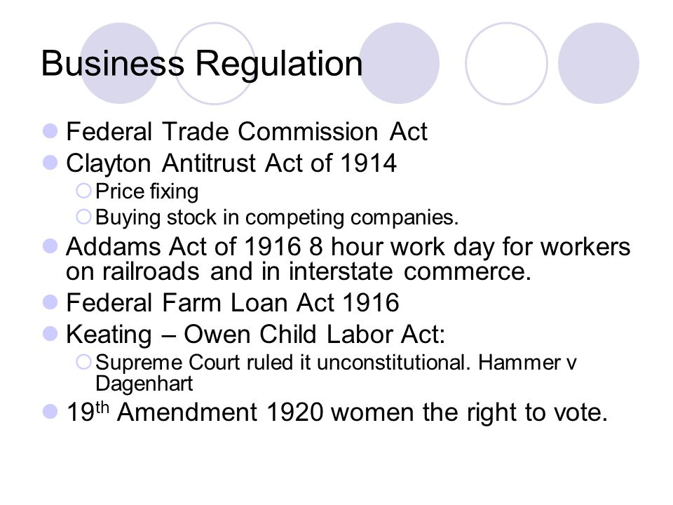 Business Regulation Federal Trade Commission Act