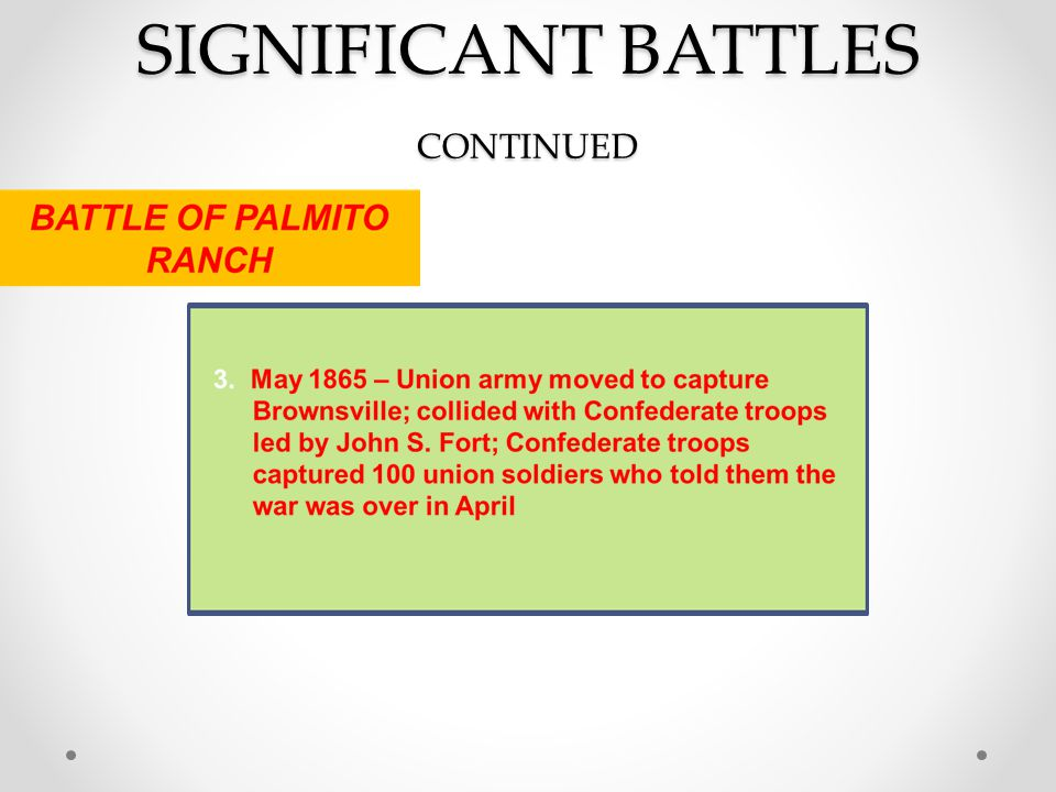 SIGNIFICANT BATTLES CONTINUED