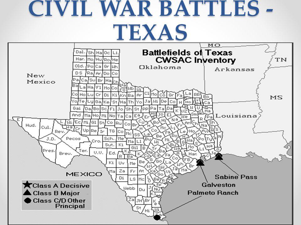 CIVIL WAR BATTLES - TEXAS