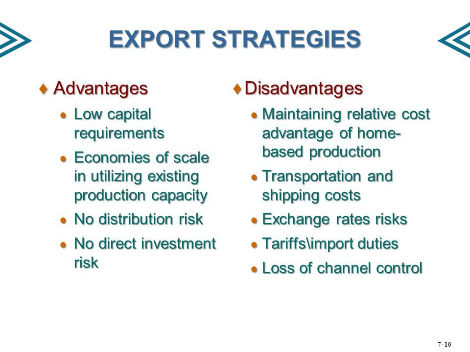 EXPORT STRATEGIES Advantages Disadvantages Low capital requirements
